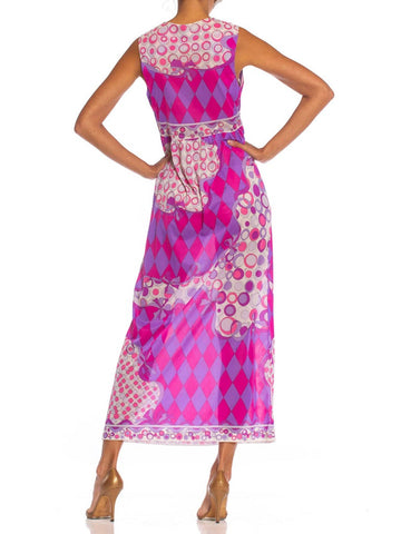 1970S PUCCI Hot Pink & Purple Nylon Tricot Jersey Negligee Dress