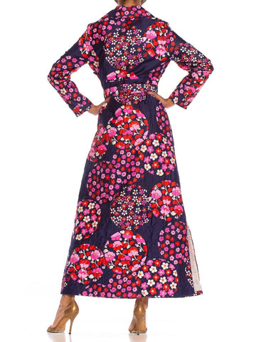 1970S Red & Pink On Navy Floral Cotton Sateen Long Sleeve Quilted House Dress