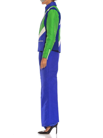 1970S Blue & Green Nylon Austrian Mod Ski Jacket Pants Ensemble