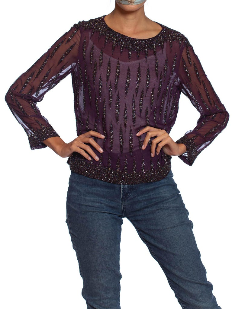 1970S Eggplant Purple Polyester Chiffon Long Sleeve Blouse Beaded With Crystals & Seed Beads