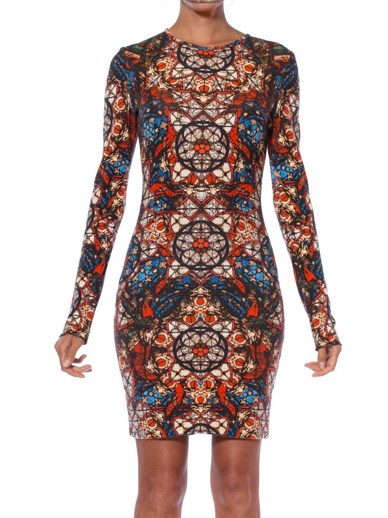2000S ALEXANDER MCQUEEN Rayon Blend Jersey Kaleidoscope Cathedral Stained Glass Printed T-Shirt Dress