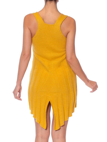 1970S PACO RABANNE Attributed Mustard Yellow Cashmere Blend Knit Sexy Cut-Out Dress