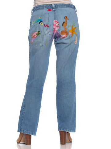 1960S Multicolor Cotton Denim Jeans With Rare Sea Creatures Hand Embroidery
