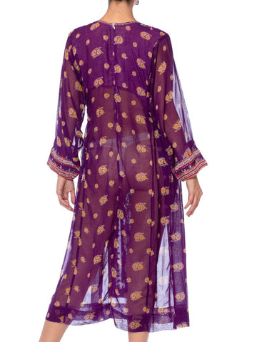 1970S Purple Embroidered Cotton Voile Floral Kaftan Dress