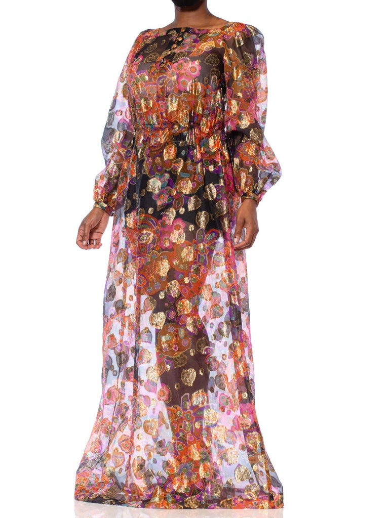 1970S Bright Multicolor Gold Lamé Poly/Lurex Fil Coupé Organza Maxi Dress