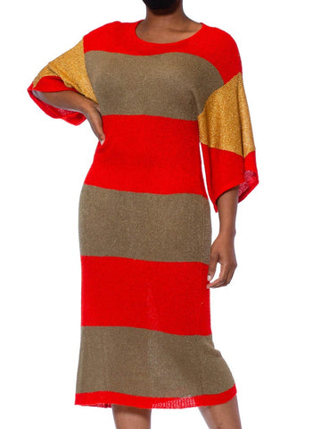 1980S DOROTHÉE BIS Lipstick Red Viscose Blend Knit Dress With Gold Lurex Sleeves