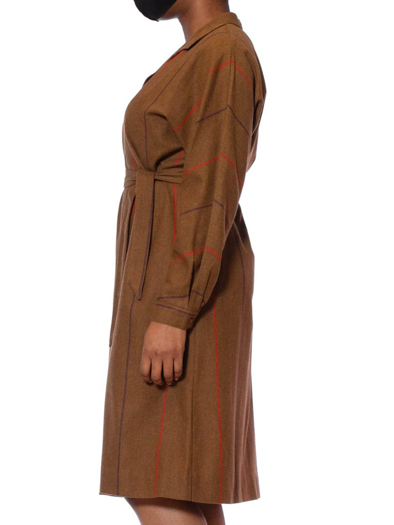 1980S BALMAIN Caramel Brown & Red Wool Button Front Oversized Shirt Dress