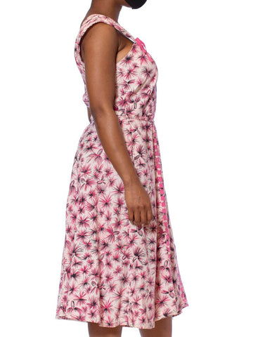 1950S Pink Light Weight Cotton Abstract Floral Rockabilly Style Dress