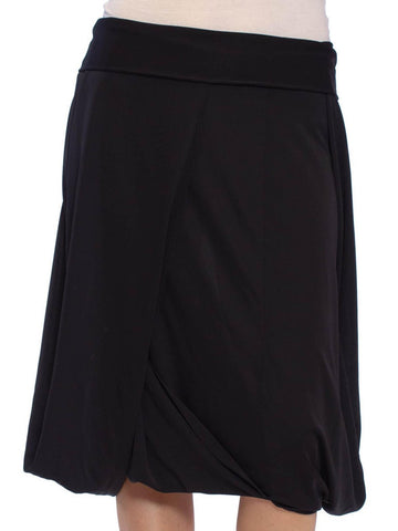 1990S Black Draped Poly Blend Jersey Asymmetrical Skirt
