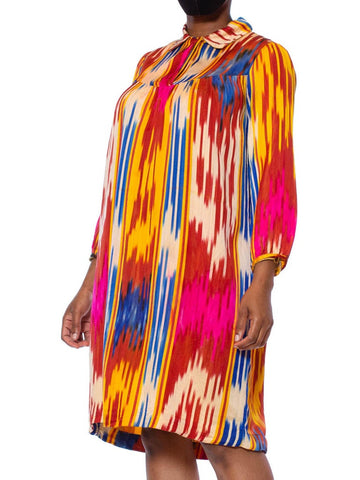 1970S Multicolor Hand Woven Silk Satin Ikat Tunic Dress