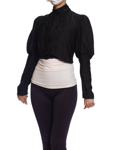 Victorian Black Wool/Cotton Sateen & Silk Lace Leg-O-Mutton Sleved Blouse