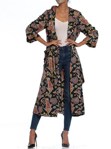 1940S Black Paisley Cotton & Rayon Satin Faced Fleece Robe