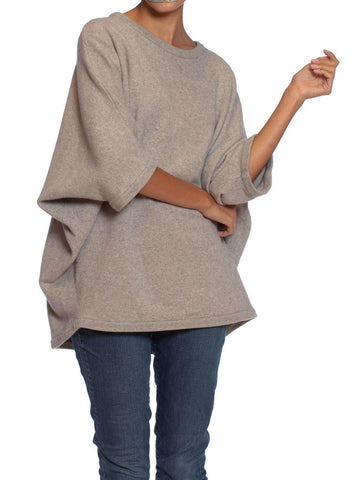 1980S MICHAEL KORS Heather Grey Cashmere Knit Oversized Dolman Sweater