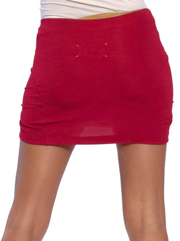 1990S MARTIN MARGIELA Cranberry Red Viscose & Spandex Jersey Micro Mini Skirt
