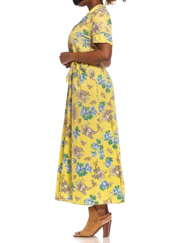 1940S Yellow Cotton Seersucker Blue Floral Wrap House Dress With Belt & Pocket