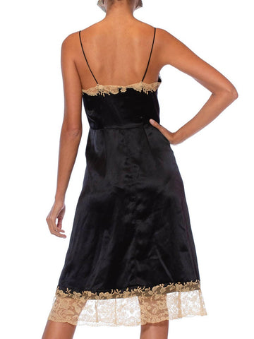 1950S Black & Ecru Haute Couture Silk Charmeuse Bias Slip Dress With Hand Appliquéd Lace