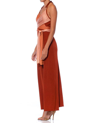 1970S Cinnamon Brown & Peach Polyester Jersey Sexy Draped Wrap Top Disco Jumpsuit