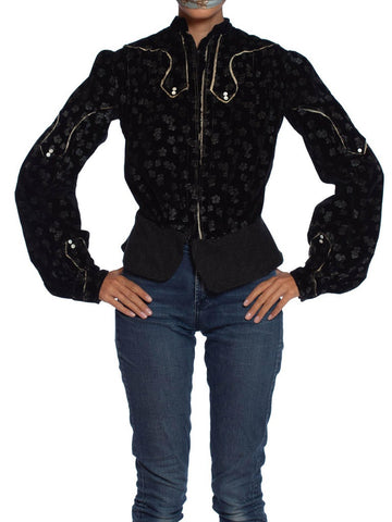 Edwardian Black Printed Silk Blend Velvet Jacket Top With Piping
