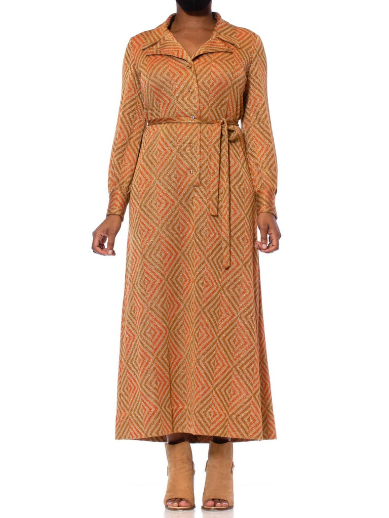 1970S Cinnamon Brown & Orange Poly/Lurex Double Knit Long Sleeved Maxi Cocktail Dress With Crystal Buttons