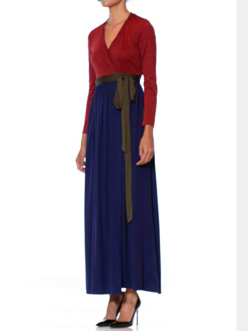 1970S Navy Blue & Burgundy Polyester Jersey Long Sleeve Disco Wrap Dress