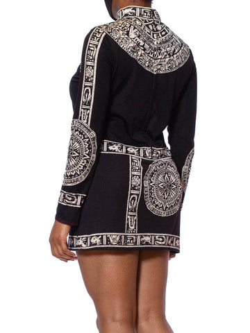 1960S Black & White Polyester Jersey Mayan Inspired Printed Mini Dress