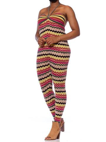 2000S MISSONI Multicolor Zig Zag Linen & Cotton Knit Jumpsuit