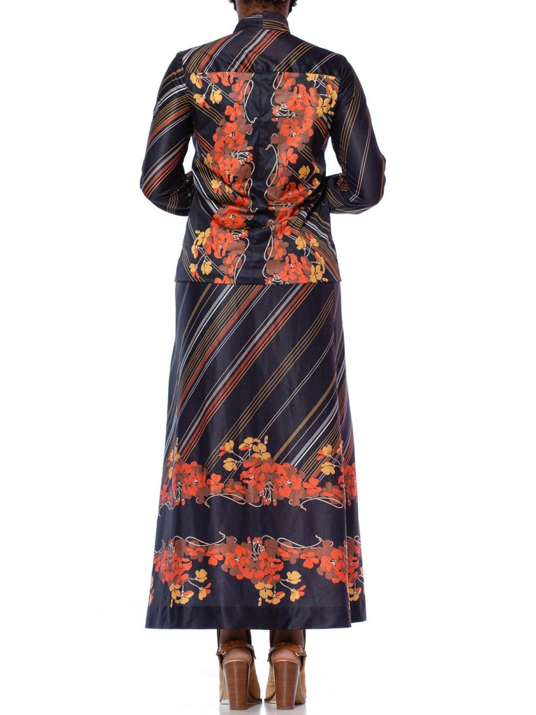 1970S Black & Orange Polyester Jersey Bow Neck Blouse Maxi Skirt Ensemble