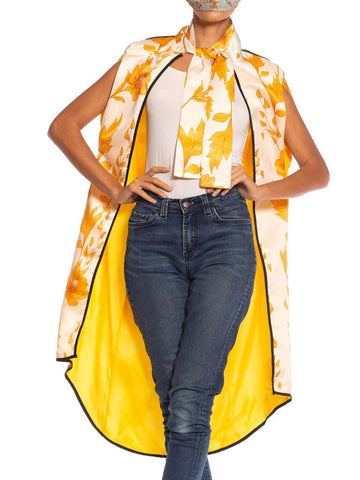 1970S Yellow Floral Polyester Satin Summer Beach Cape