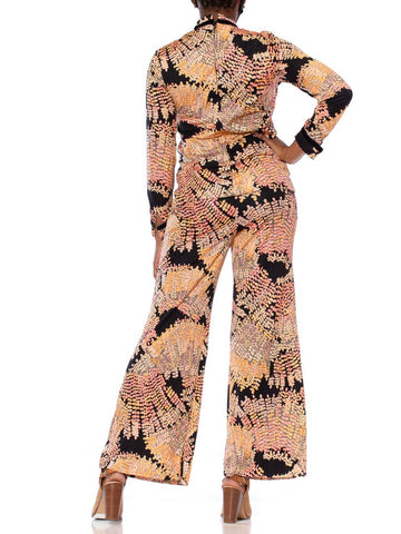 1970S Peach & Black Polyester Jersey Leafy Printed Blouse Pants Ensemble