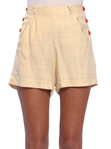 1940S Ivory Rayon Blend Red Button Sailor Shorts