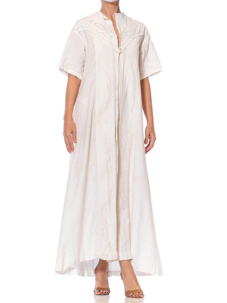 Victorian Off White Hand Embroidered Organic Linen Short Sleeve Nightgown Duster Dress