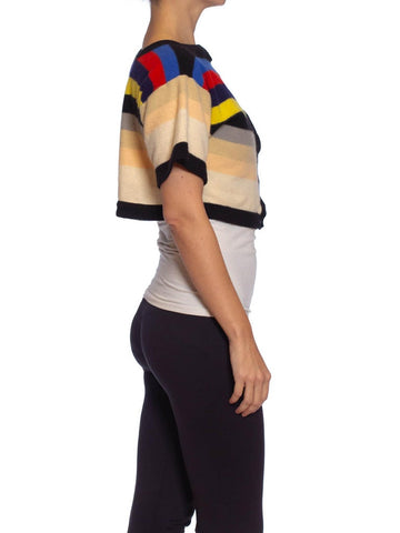 1980S SONIA RYKIEL Boiled Wool Knit Stripe Short Sleeve Cropped Sweater