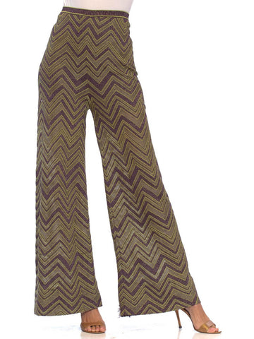 2000S MISSONI Lime Green & Purple Poly/Cotton Lurex Zig-Zag Knit 70S Style Pants