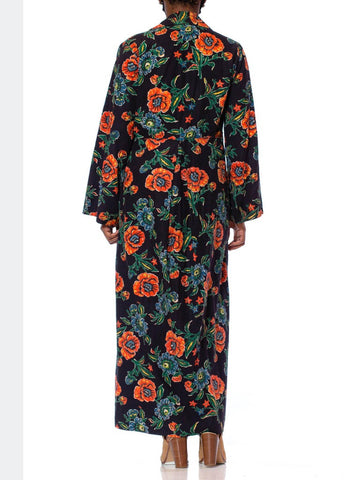 1940S Navy Blue Cotton Flannel Orange & Floral Duster Robe