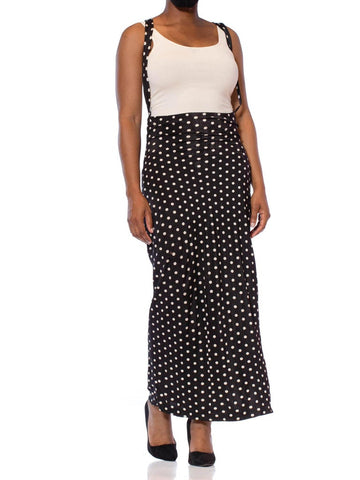 1970S NORMA KAMALI Black & White Polka Dot Poly/Lycra Jersey Body-Con High Waisted Suspender Skirt