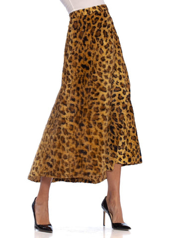1940S Leopard Print Cotton & Rayon Faux Fur Early Rockabilly Skirt