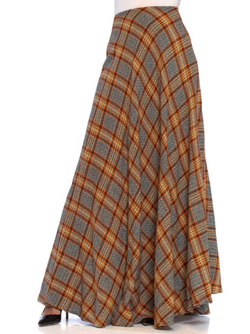 1970S Earth Tones Pleated Wool Blend Full Maxi Skirt