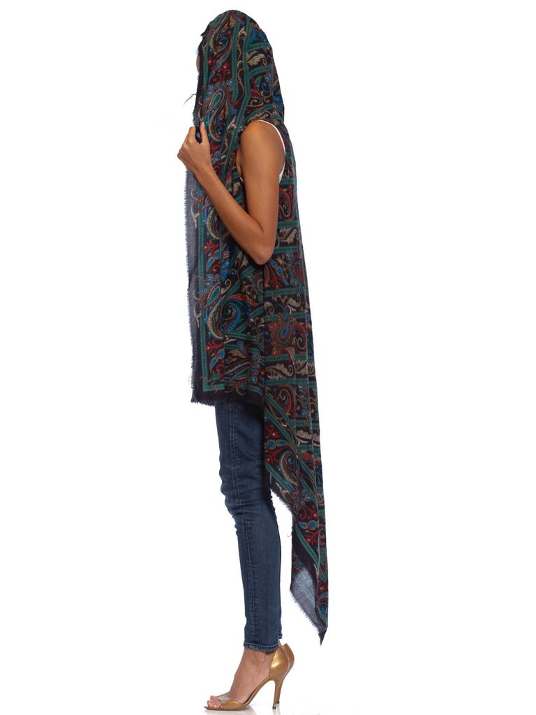 MORPHEW COLLECTION Blue & Green Acrylic Blend Hooded Scarf Top
