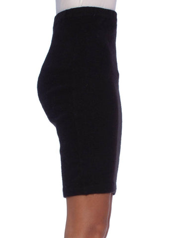 1990S CHANEL Black Cashmere Knit Long Pencil Skirt