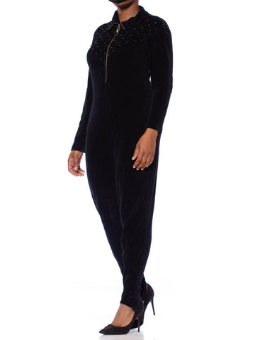 1980S Black Cotton Blend Stretch Velvet Long Sleeve Stirrup Pant Jumpsuit With Gold Studs