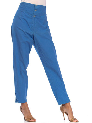 1960S French Blue Cotton Pajama Style Lounge Pants