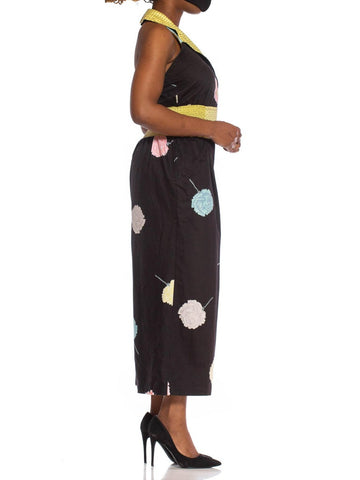 1980S Black Cotton Sateen Jumpsuit With Yellow Polka Dot Elastic Waist & Pink Flowers