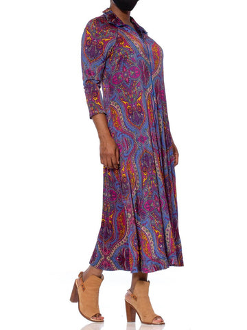1970S Magenta & Blue Nylon Jersey Slinky Paisley House Dress