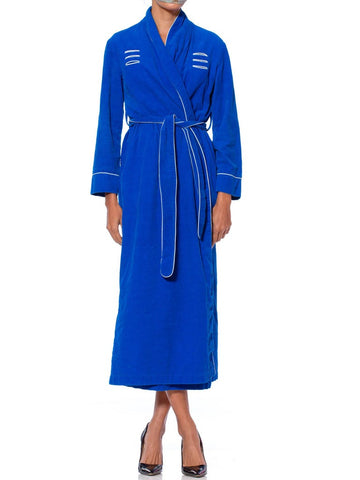 1950S Electric Blue Cotton Corduroy Robe With White Piping & Cute Pockets