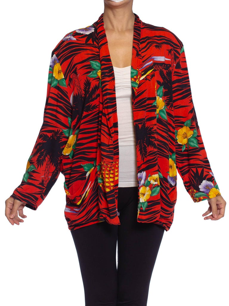 1970S Red Rayon Tropical Print Oversized Jacket
