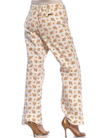 1970S WRANGLER Floral & White Cotton Denim Flared Jeans