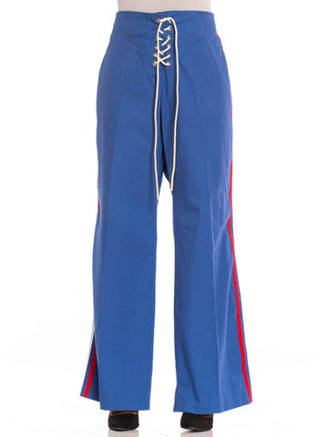 1970S French Blue Polyester Sexy Racing Stripe Lace Front Sports Pants