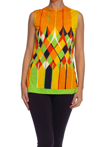 1960S Lime Green & Orange Polyester Jersey Mod Shell Top