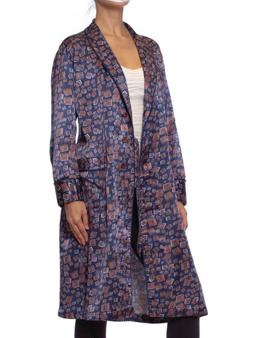 1970S Navy Blue Rayon & Cotton Satin Faced Fleece Robe From Paris