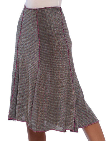 1970S SCARLET SPEEDWELL Pink & Blue Silver Lurex Knit Disco Skirt